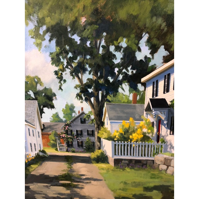 Wonderful sunny afternoon painting by Line Tutwiler having a sun dappled lawn and lovely white clapboard house covered...