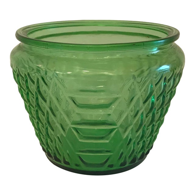 Mid Century Green Glass Patterned Vase/Planter For Sale