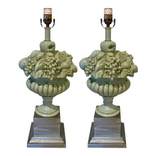 Mid-Century Swedish Blue & Silver Fruit Topiary Lamps - A Pair