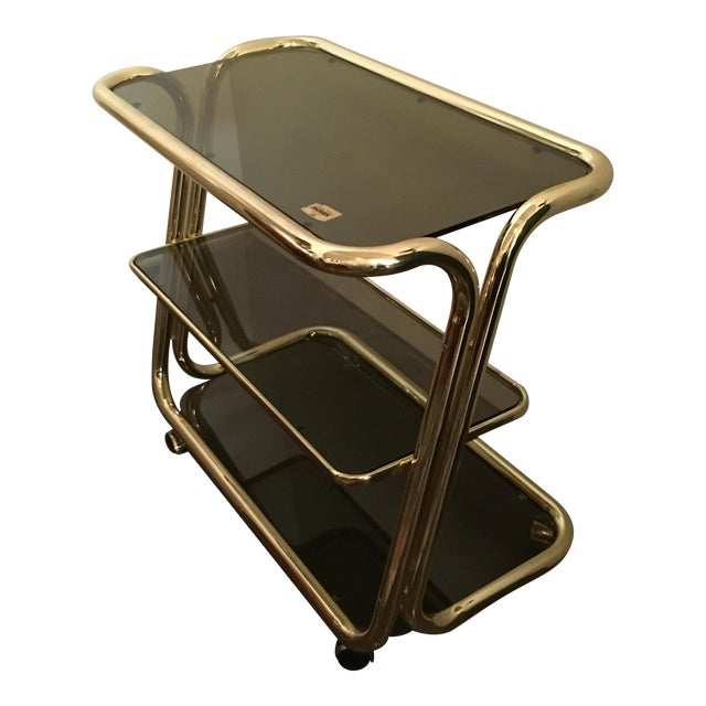 Morex Italian Modern Glam Brass and Smoked Glass Bar Cart, Trolley or Server - Image 1 of 9