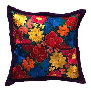 Mexican Floral Embroidered Pillow Cover For Sale