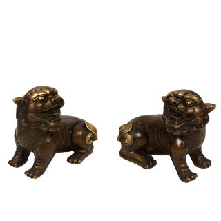 Vintage Chinese Bronze Foo Dog Statues - a Pair For Sale