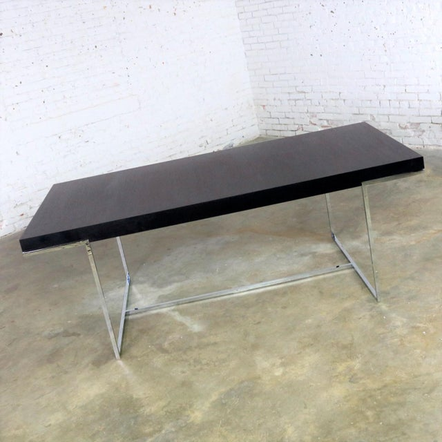 Brown Athos Dining Table by Paolo Piva for B and B Italia Chrome and Dark Brown Oak For Sale - Image 8 of 13