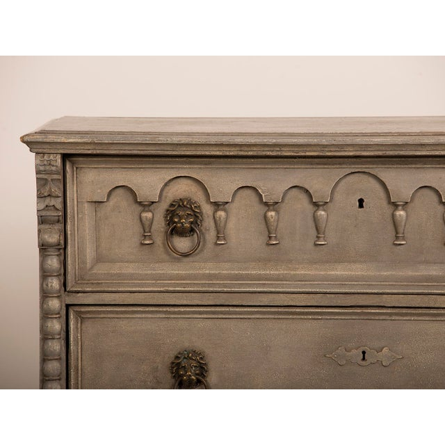 Antique English Tall Painted Three Drawer Chest circa 1850 - Image 10 of 11