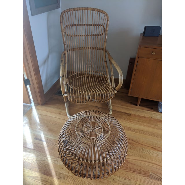 Wicker Mid Century Modern Franco Albini Rattan and Wicker Chair and Ottoman For Sale - Image 7 of 7