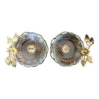 Vintage Gilt Tole Metal Flower Ashtrays- a Pair For Sale