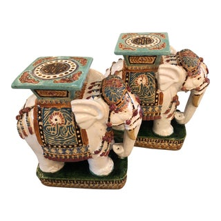 Vintage Hollywood Regency Garden Stools Stands Side Tables Elephants -A Pair For Sale