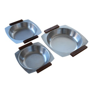 Danish Modern Stainless & Teak Dishes - Set of 3 For Sale