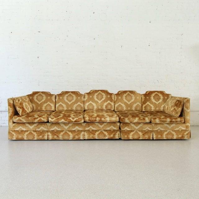 Mid-Century Modern 1970s Vintage Damask Two-Piece Velvet Sofa For Sale - Image 3 of 10