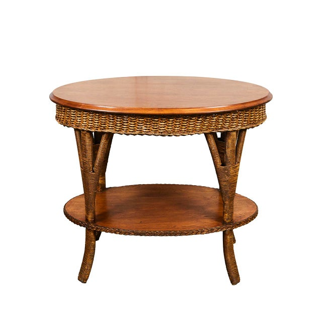 Brown 1930's Wicker Table For Sale - Image 8 of 8