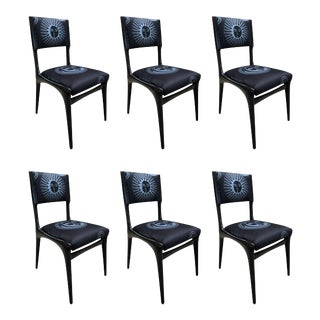 Carlo de Carli Chairs - Set of 6 Reupholstered with Fabric by Fornasetti For Sale