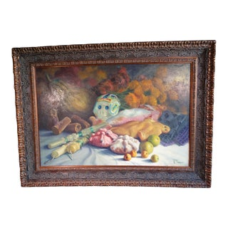 1970s Still Life With Candles, Fish and Fruit Oil Painting by Alfonso Tirado, Framed For Sale