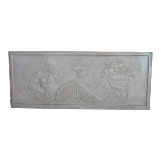 Antique Plaster Frieze of Reclining Maiden For Sale