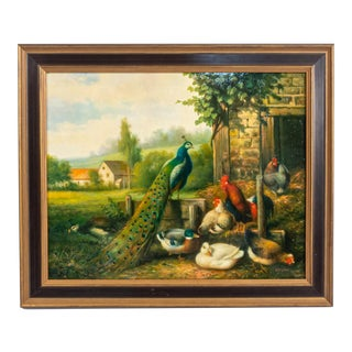 English Country Barnyard Oil Painting For Sale