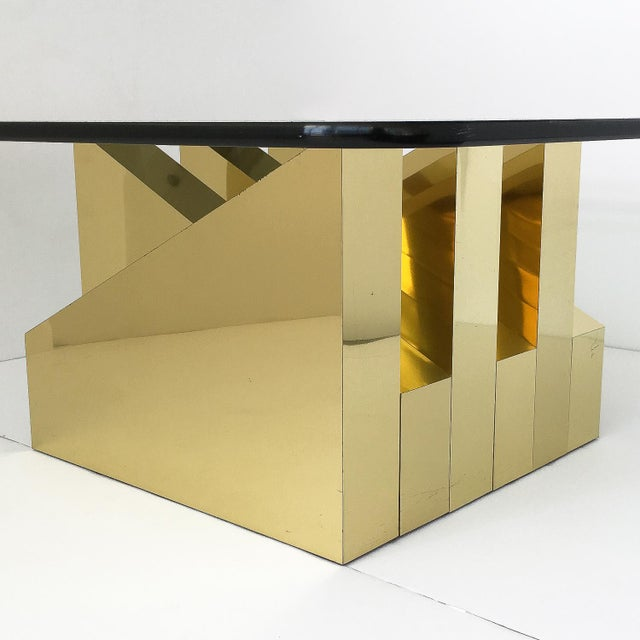 Modern Sculptural Brass Clad Coffee Table For Sale In Chicago - Image 6 of 13