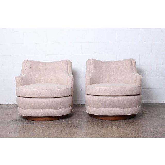 Pair of Dunbar Swivel Chairs by Edward Wormley For Sale - Image 11 of 11