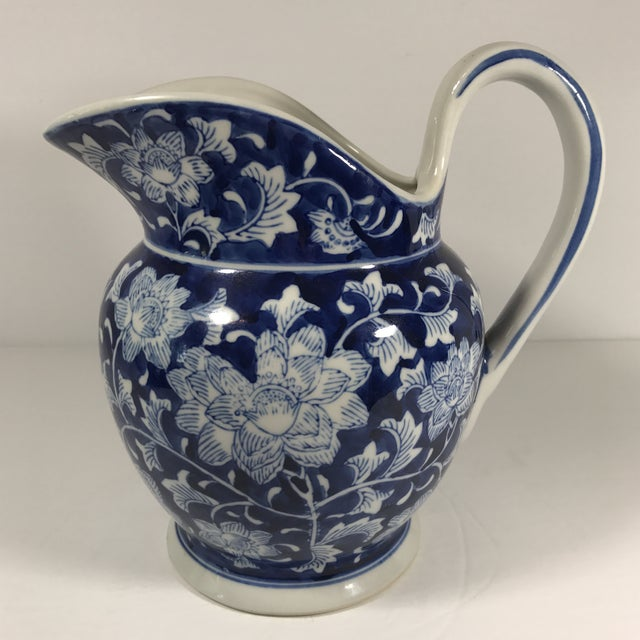 Chinoiserie Blue and White Pitcher - Image 11 of 11