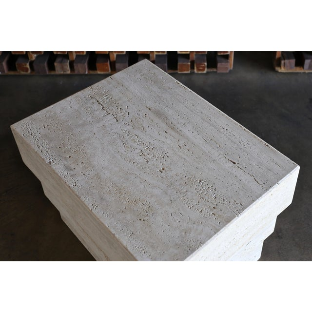 Sculptural Modernist Travertine Side Table, Circa 1980 For Sale - Image 12 of 13