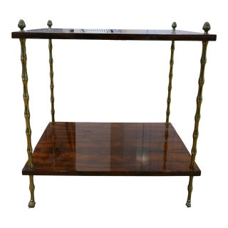 Henri Wood & Brass Finish Side Table For Sale