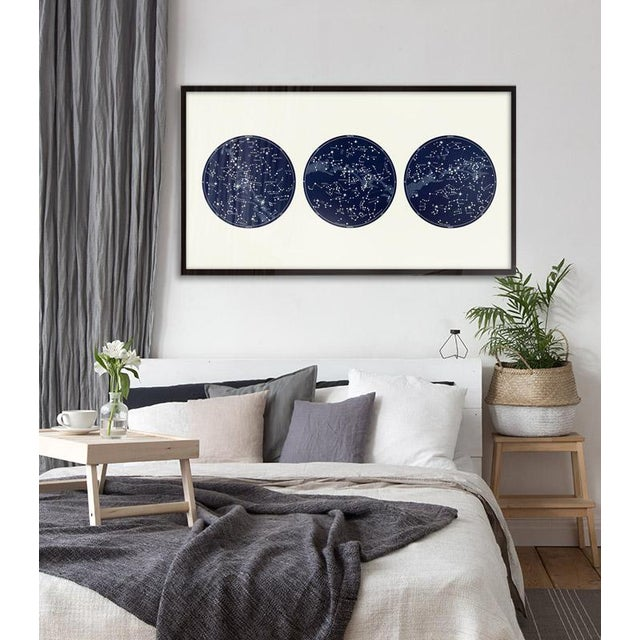 This wide format print is based on Antique Astronomy Constellation Maps , and is rich in blues (or black) with bold lines...