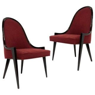Pair of Sculptural Harvey Probber Model 1053 Gondola Slipper Chairs For Sale