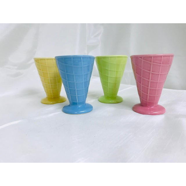 Shabby Chic Vintage Bright Pastel Ceramic Waffle Cone Ice Cream Parfait Cups - Set of 4 For Sale - Image 3 of 7