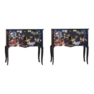 Christian Lacroix 1960s Gustavian Floral Commodes - a Pair For Sale