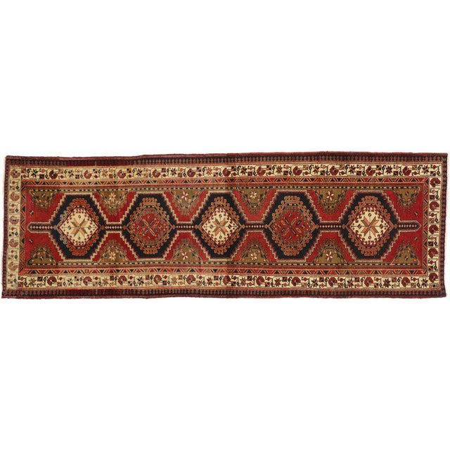 Contemporary 20th Century Nomadic Style Persian Azerbaijan Tribal Hallway Runner - 3′7″ × 10′9″ For Sale - Image 3 of 7
