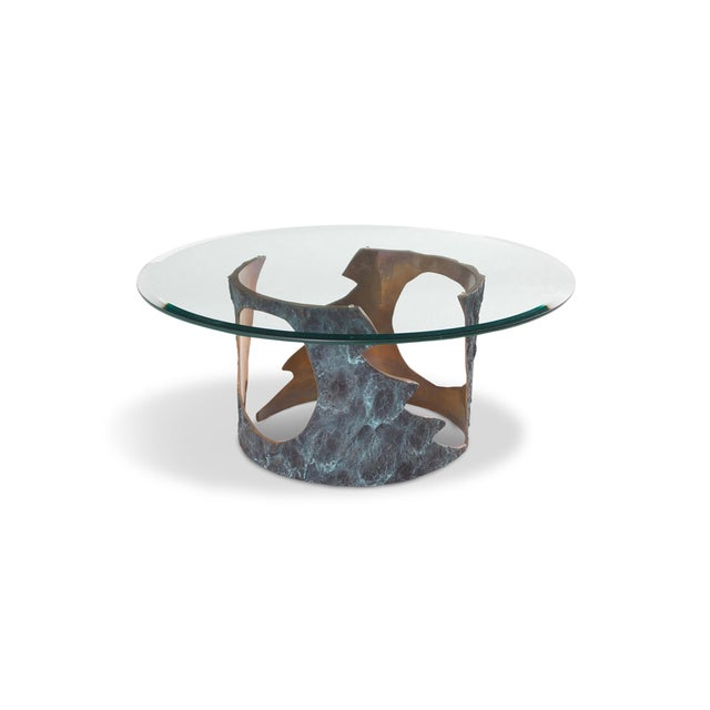 Gold Willy Ceysens Coffee Table in Solid Bronze & Glass For Sale - Image 8 of 8