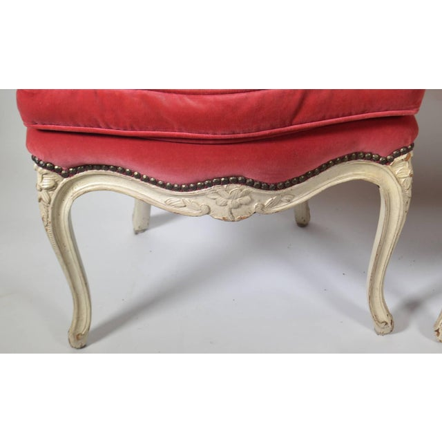 French Pair of Louis XV-Style Carved Chairs For Sale - Image 3 of 5