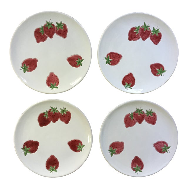 Italian Strawberry Motif Plates - Set of Four For Sale