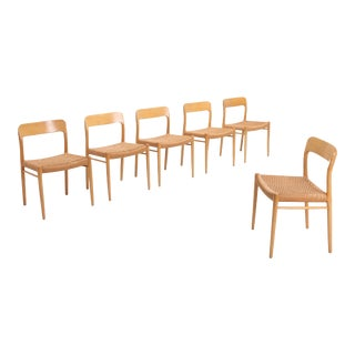 Scandinavian Modern Chairs in Oak by n.o. Möller for j.l. Moller For Sale