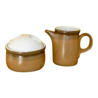1970s Ben Seibel Mikasa Potters Art Buckskin Creamer & Sugar Set - 2 Pieces For Sale