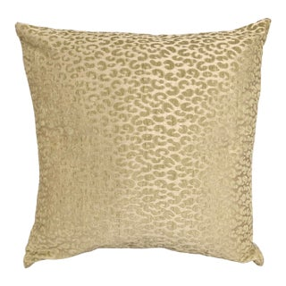 Cheetah Luxurious Cream and Chartreuse Green Square Pillow With Feather Insert For Sale