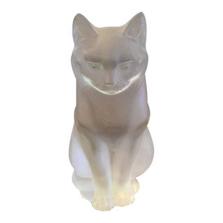 Lalique Chat Assis Seated Glass Cat Sculpture For Sale