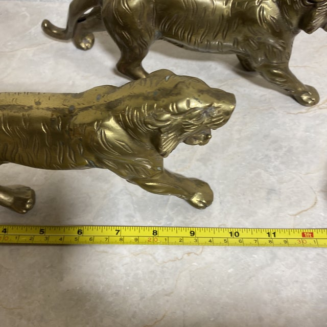 Vintage Brass Tigers - a Pair For Sale - Image 9 of 12