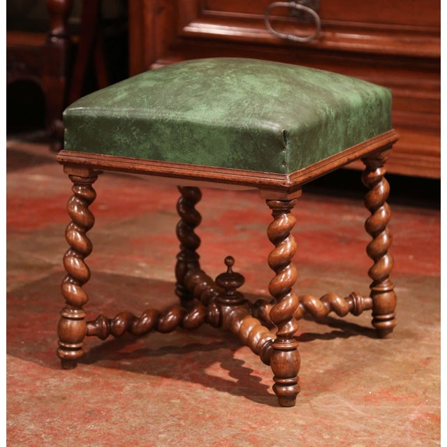 Late 19th Century Set of Four 19th Century French Louis XIII Carved Barley Twist Leather Stools For Sale - Image 5 of 8