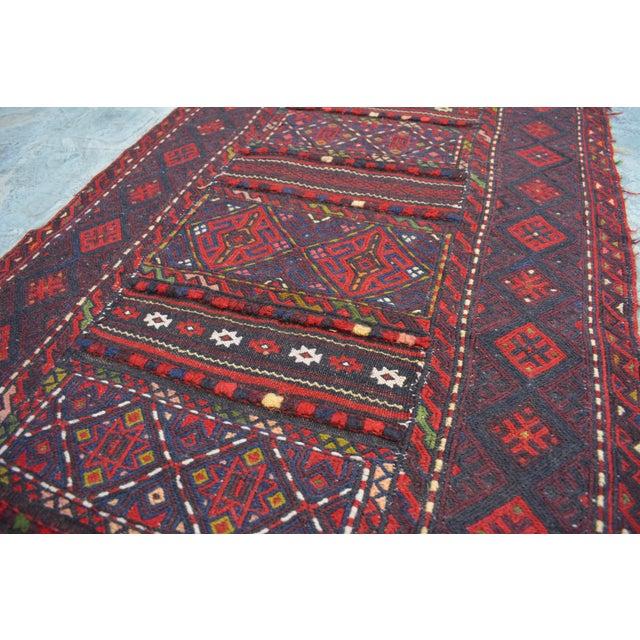 "Blue Afghan Soumak Tribal Kilim Runner-2'3'x9'11"" For Sale - Image 8 of 11"