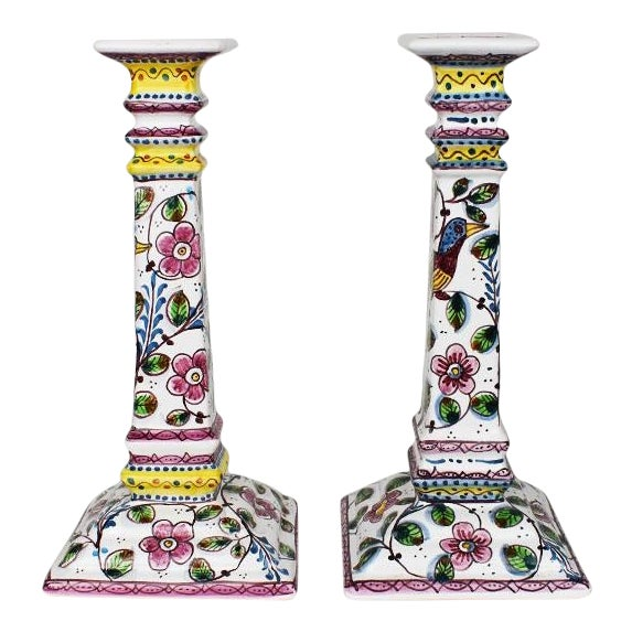 Ceramic Floral Painted Portuguese Candlesticks in Pink and Green - a Pair For Sale