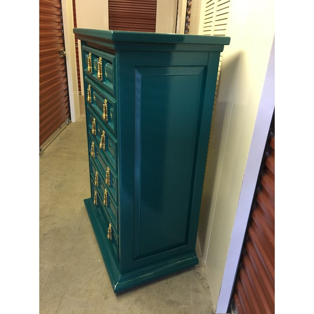 1970s Mid-Century Modern United Furniture Jade Green Lacquered High Boy Dresser For Sale In Charleston - Image 6 of 9