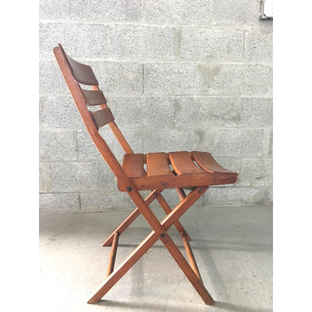 Vintage Rustic Slat Wood Folding Chairs - A Pair - Image 6 of 9