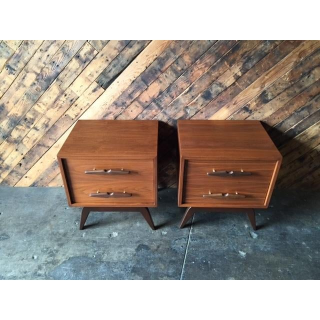 Mid-Century Sculpted Handle Nightstands - A Pair - Image 6 of 6