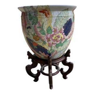 Tobacco Leaf Ceramic Fish Bowl Planter and Stand For Sale