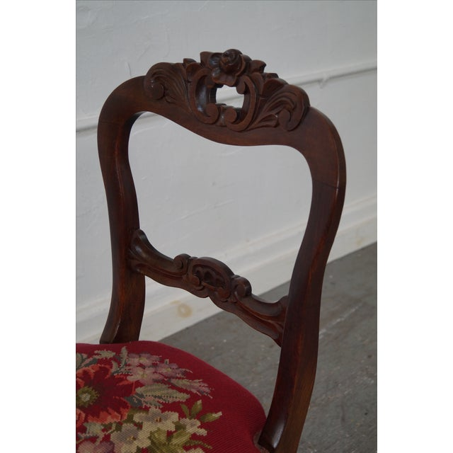 Antique Victorian Walnut Side Chair - Image 6 of 10