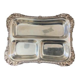 1940s Silver Plated Relish Tray For Sale