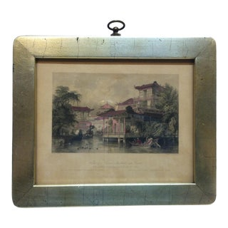 "Framed Print on Paper, ""House of a Chinese Merchant - Near Canton"" - Circa 1890 For Sale"