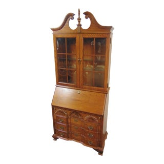 Jasper Oak Blockfront Chippendale Secretary Desk For Sale