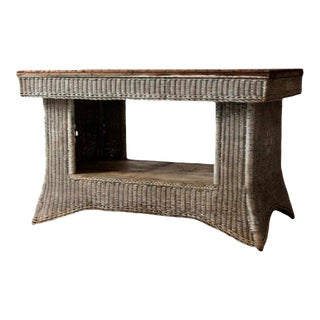Antique Wicker Library Table For Sale