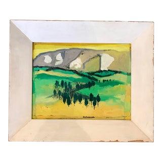 Vintage Mid-Century Jason Schoener Snowy Range Oil on Board Painting For Sale