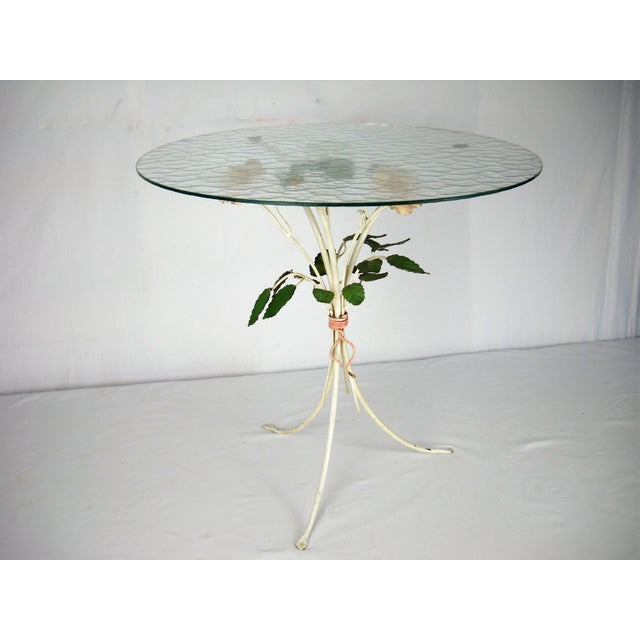 Italian Floral Tole Side Table For Sale - Image 4 of 8
